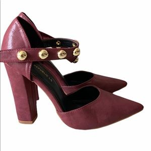 Shoe Republic LA Burgundy Gold Studded Straps Heel
